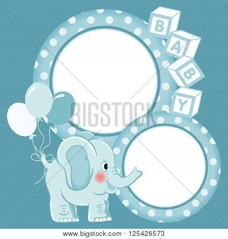 Scalable vectorial image representing a baby elephant blue scrapbook frame.