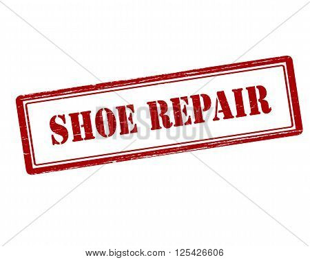 Rubber stamp with text shoe repair inside vector illustration