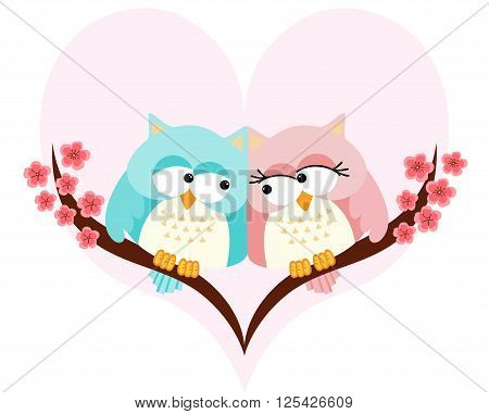 Scalable vectorial image representing a owls couple in love on background of a heart, isolated on white.