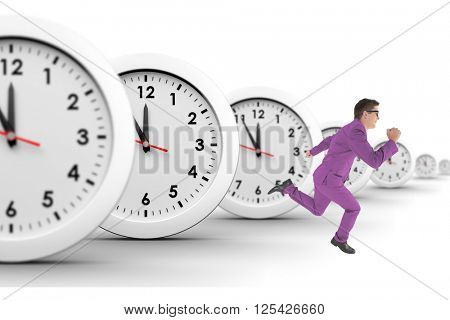 Geeky happy businessman running mid air on white background with clocks