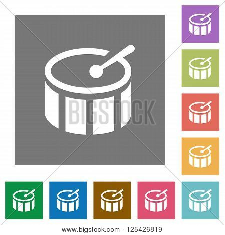 Drum flat icon set on color square background.