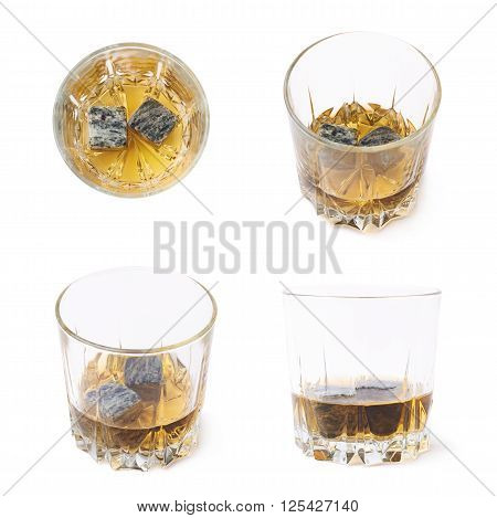Glass tumbler filled with bourbon whiskey and granite cooling stones isolated over the white background, set of four different foreshortenings