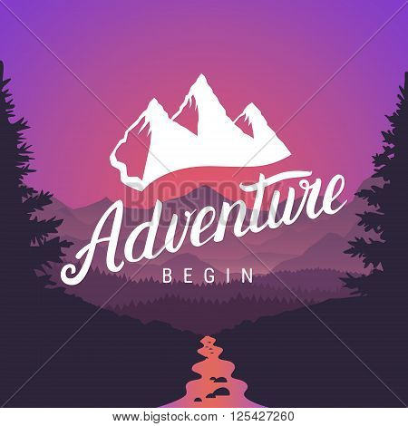 Adventure logo lettering calligraphy. Outdoor activity symbol on mountain landscape background. Adventure begin logotype. Vector illustration.