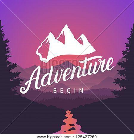 Adventure logo lettering calligraphy. Outdoor activity symbol on mountain landscape background. Adventure begin logotype. Vector illustration.