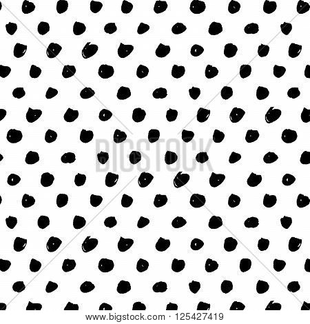 Polka dot brushe stroke seamless pattern. Abstract background with round brush strokes. Monochrome hand drawn texture. Stylish polka dot. Vector illustration.