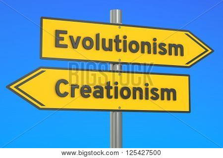 evolutionism vs creationism concept on the signpost 3D rendering