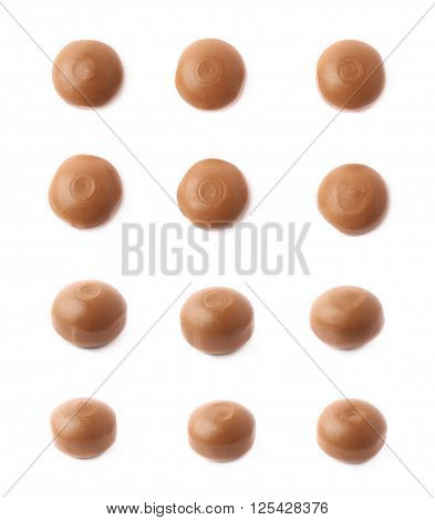 Toffee caramel chewing candy snacks isolated over the white background, set of six images, each in two foreshortenings