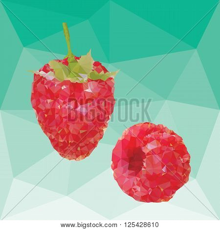 red ripe fresh raspberries on a abstract background from triangles
