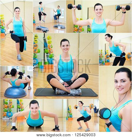 Collage Of Beautiful Sporty Woman Doing Different Exercises In Gym