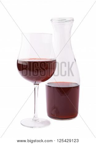 Red wine glass and bottle composition isolated over the white background