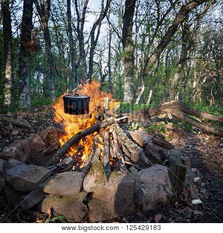 The black cauldron hanging over burning campfire