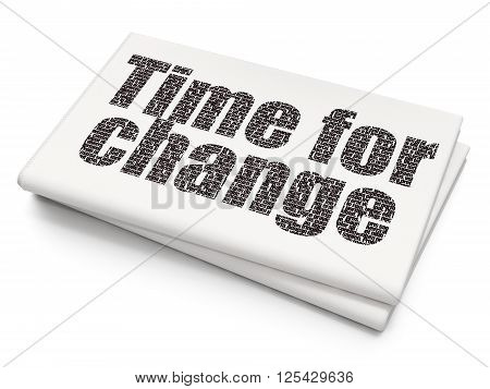 Timeline concept: Time for Change on Blank Newspaper background