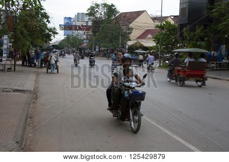 Busy Street In Siem Reap