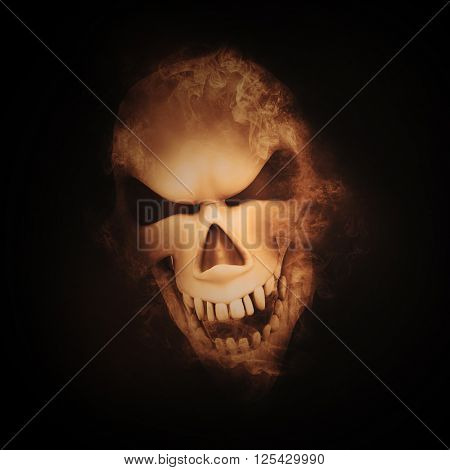 3D render of a skull with smoke effect