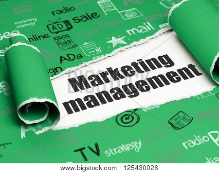 Marketing concept: black text Marketing Management under the piece of  torn paper