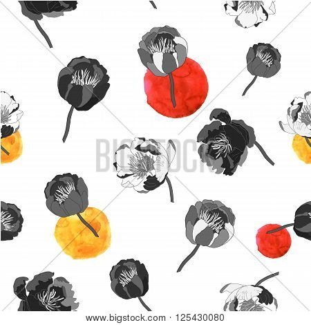 Black and white seamless floral background. Hand drawn flowers on background with watercolor stans. Vector illustration.