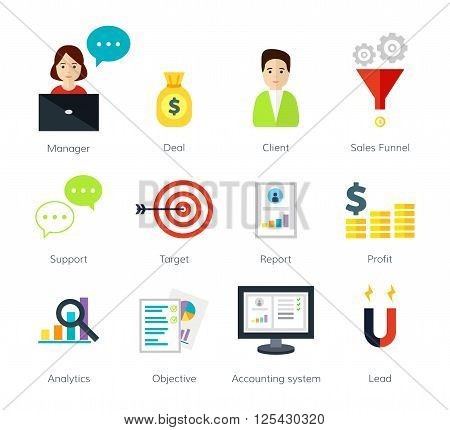 Internrt business and e-commerce vector illustration. Flat icons of client, objectives, support, deal, manager. Icons of the internet business concept.