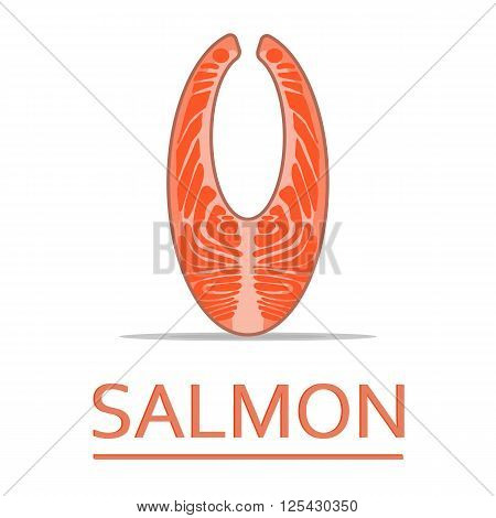 Salmon steak. Steak fish. Fresh organic seafood. Vector illustration.