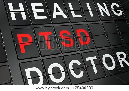 Healthcare concept: PTSD on airport board background