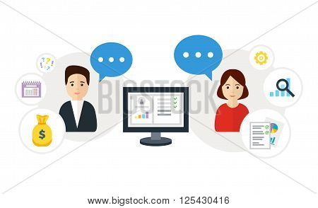Customer Relationship Management, flat vector illustration. Client communicates with manager. Icons of client, manager, account system. CRM concept.