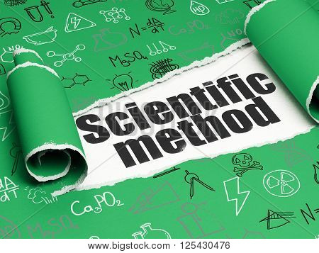 Science concept: black text Scientific Method under the piece of  torn paper