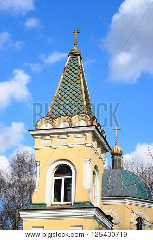 The Church of the icon of the Mother of God. Znamenskaya Church in microdistrict Ribatskoe on the outskirts of St. Petersburg Russia.