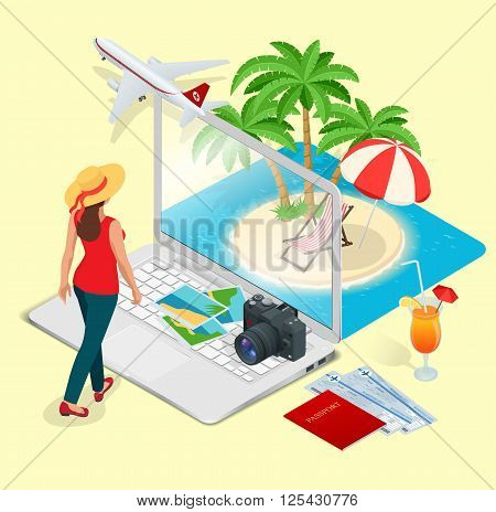 Modern vector concept of traveling, booking online, planning a summer vacation. Travel air tickets resort hotel booking mobile app mockup showcase. Flat 3d vector isometric illustration