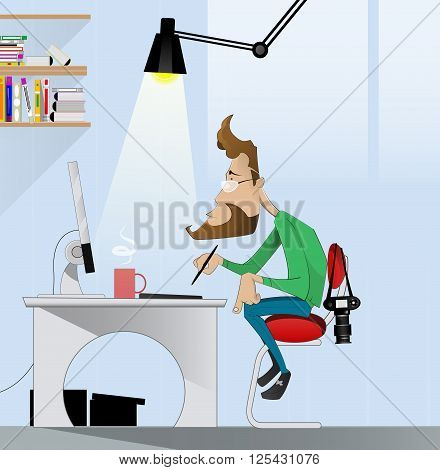 Digital art painter at work. Concept illustration of design occupations, art direction employment, 3D modeling artist job, motion graphic design profession. Vector