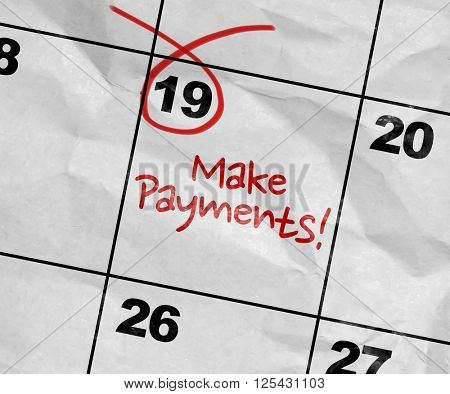Concept image of a Calendar with the text: Make Payments