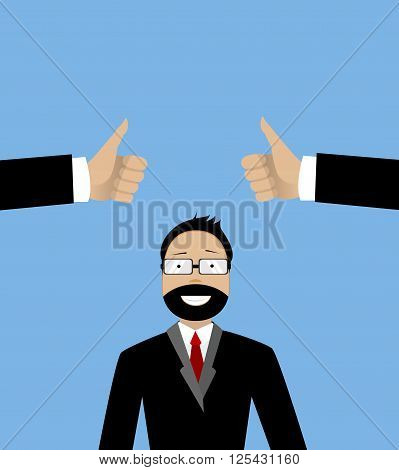 Happy businessman and two hands with thumbs up. Likes and positive feedback concept. Creative vector illustration