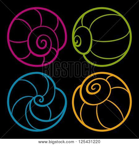 Set of vector iconic round shells isolated on black background