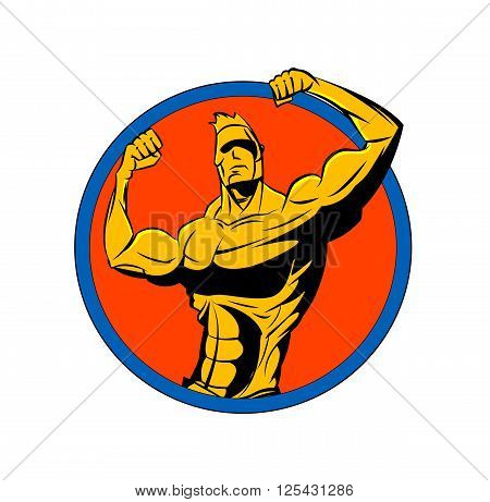 Bodybuilder from the front double biceps. Sports vector symbol.