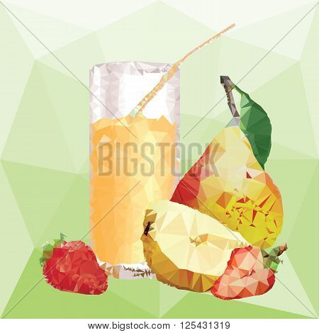 glass with juice and yellow pear with leaf and half of pear, ripe strawberry and slice of strawberry on a abstract background from triangles