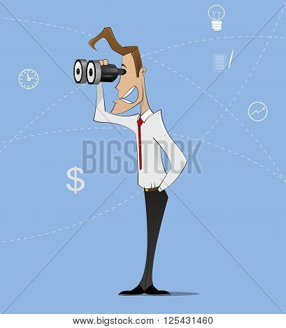 Businessman looking through binocular and smiling. Can be use as concept of job search, recruiting, headhunter. Vector illustration