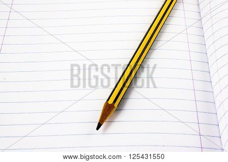 a pencil on white page of a notebook