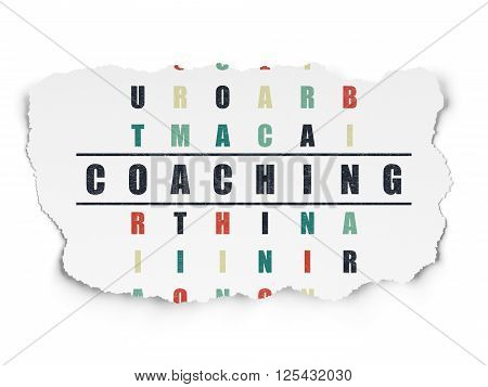 Education concept: Coaching in Crossword Puzzle