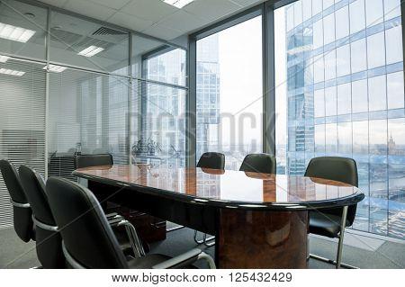 Modern meeting room in the office. Nobody