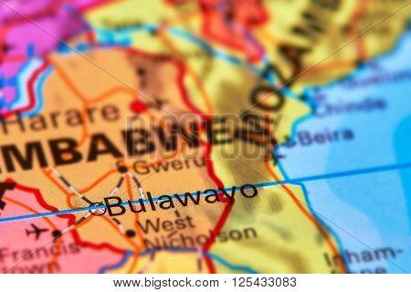 Bulawayo City In Zimbabwe On The Map