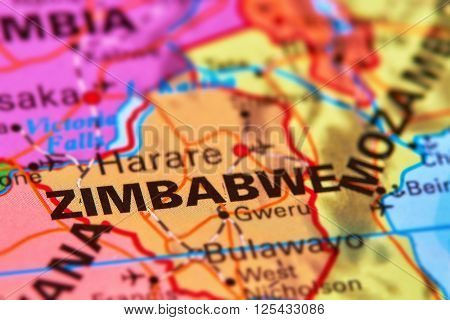 Zimbabwe Country on the World Map Atlas