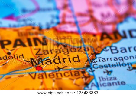 Madrid, Capital City Of Spain On The Map