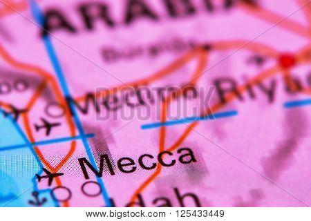 Mecca, City In Saudi Arabia On The Map