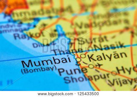 Mumbai (bombay), City In India On The Map