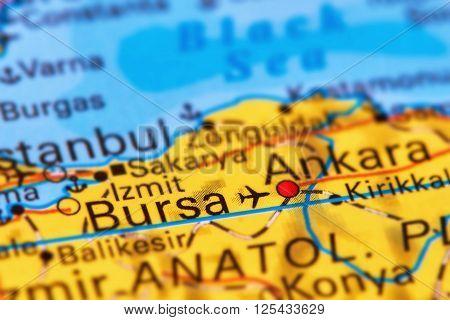 Bursa, City In Turkey On The Map