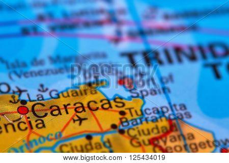 Caracas, Capital City Of Venezuela On The Map