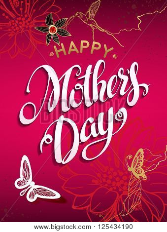Happy Mother's Day Lettering,Typographical Design. Isolate Symbols. Mothers Day Signs. Text Design with flowers and butterfly in a red background. Holidays Mothers Day. Vector illustration