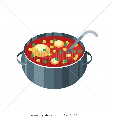 Icon saucepan with soup isolated on a white background. Tasty soup in a metal pan in a flat style. Vector illustration.