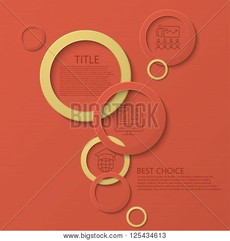 Vector modern circle e-learning, education infographic background. Eps10