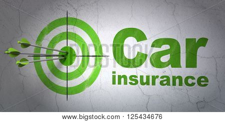Insurance concept: target and Car Insurance on wall background