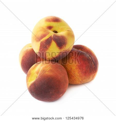 Pile of peach fruits isolated over the white background
