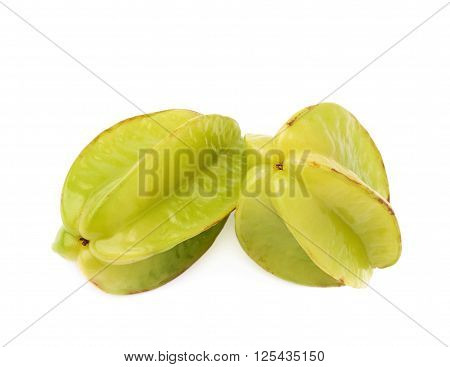 Two averrhoa carambola starfruits composition isolated over the white background